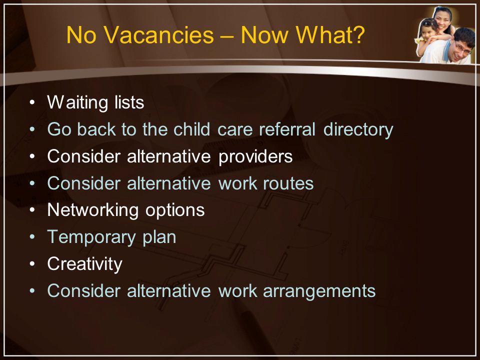 No Vacancies – Now What.