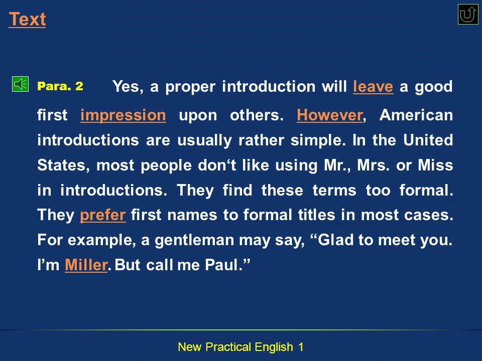 New Practical English 1 The Way Americans Greet The Way Para.