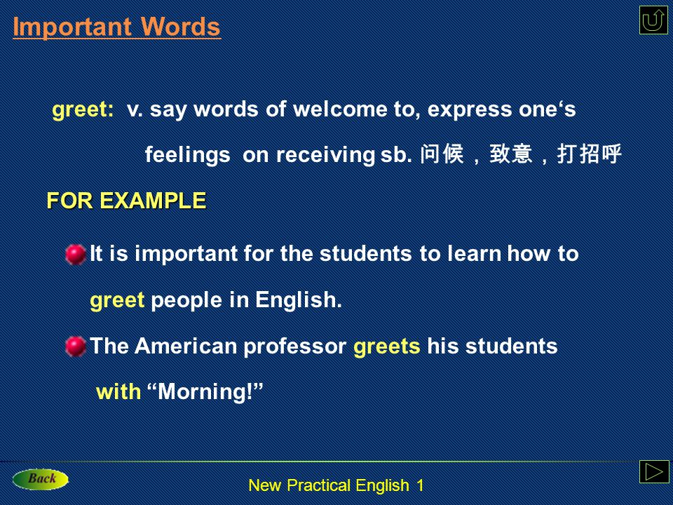 New Practical English 1 Example: In this way you can improve your spoken English and do better in the job interview.