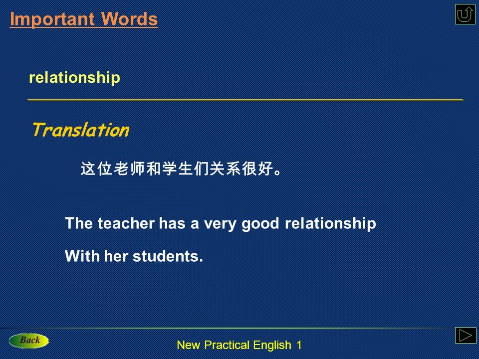 New Practical English 1 relationship: n.