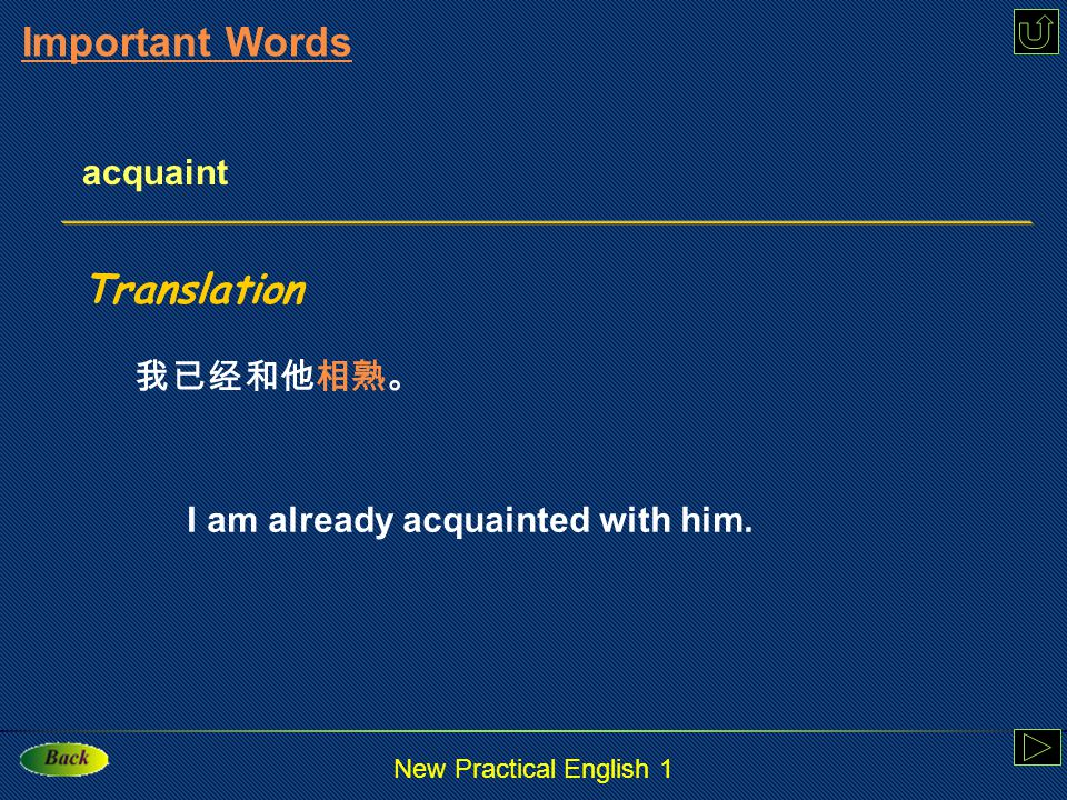 New Practical English 1 acquaint : v. make familiar with, get to know, reveal to sb.