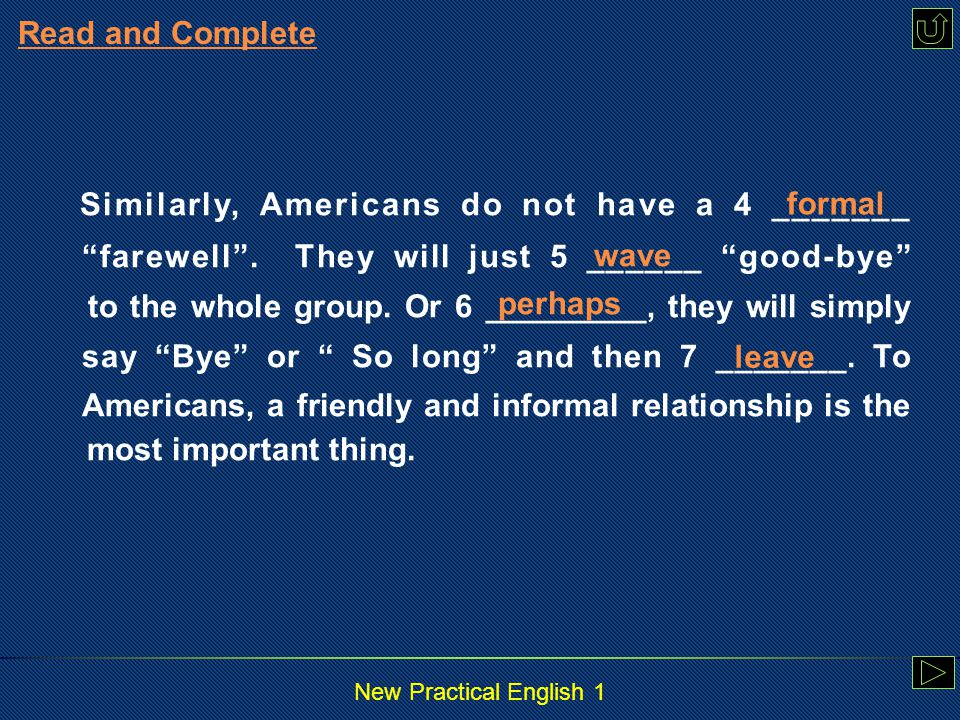New Practical English 1 2. Fill in the blanks without referring to the passage.