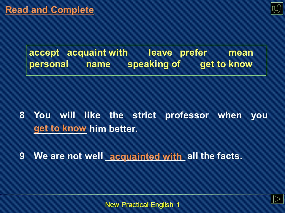 New Practical English 1 Read and Complete accept acquaint with leave prefermean personalname speaking ofget to know 6To him, success in the interview ________ a chance to work for the famous software company.