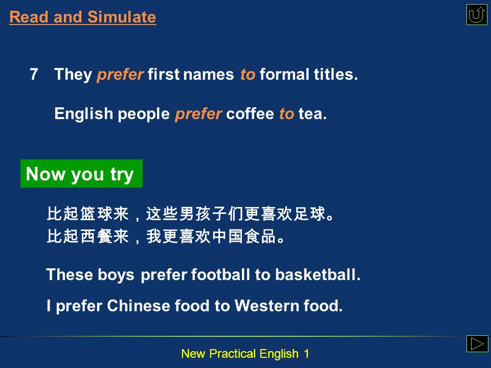 New Practical English 1 Read and Simulate 6 In the United States, introductions are usually rather simple.