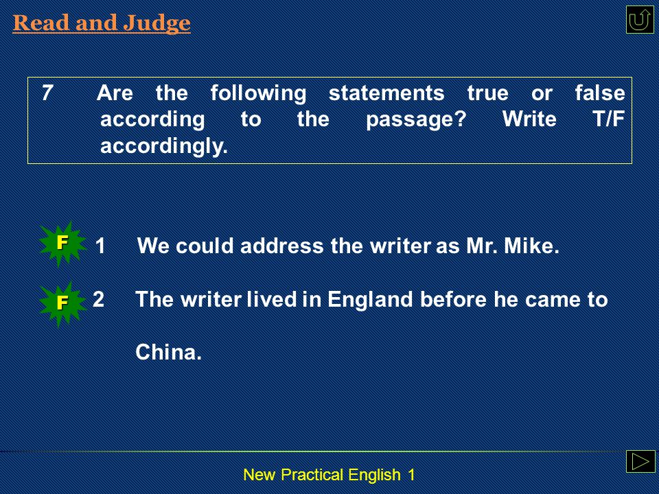 New Practical English 1 Read and Judge Read and Rewrite Read and Translate Practice