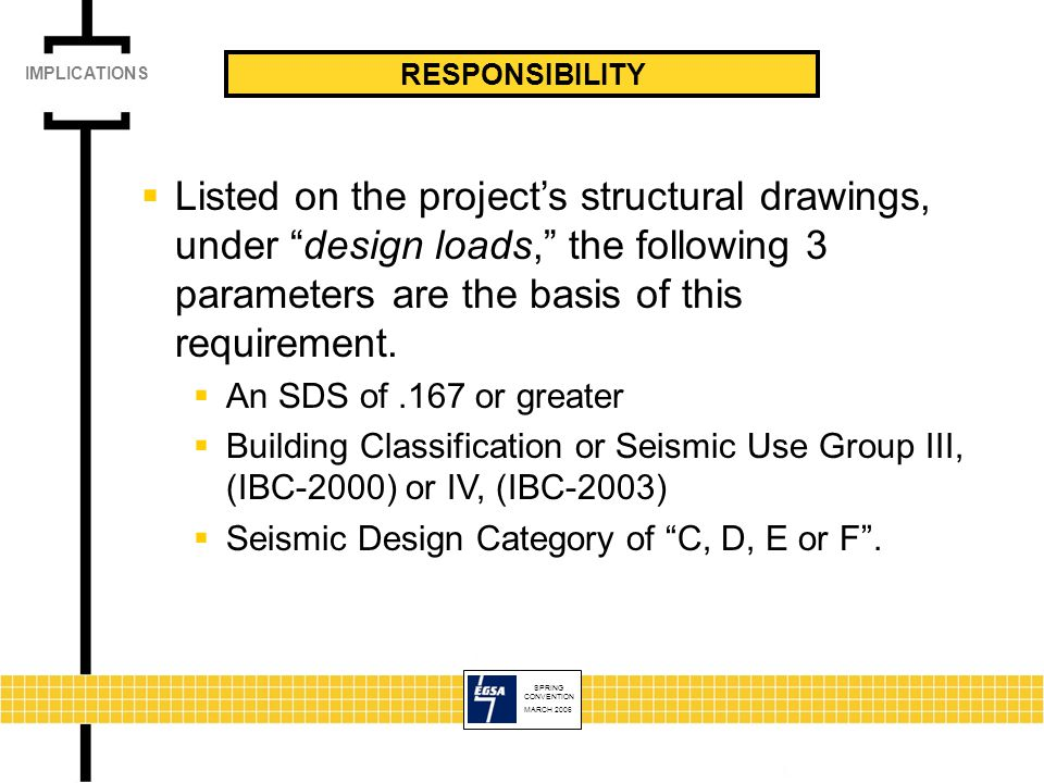 SPRING CONVENTION MARCH 2006 RESPONSIBILITY  Listed on the project's structural drawings, under design loads, the following 3 parameters are the basis of this requirement.