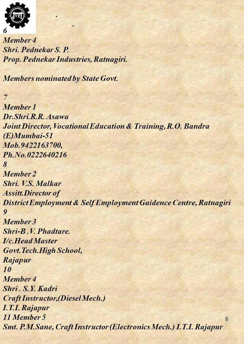 8 6 Member 4 Shri. Pednekar S. P. Prop. Pednekar Industries, Ratnagiri.