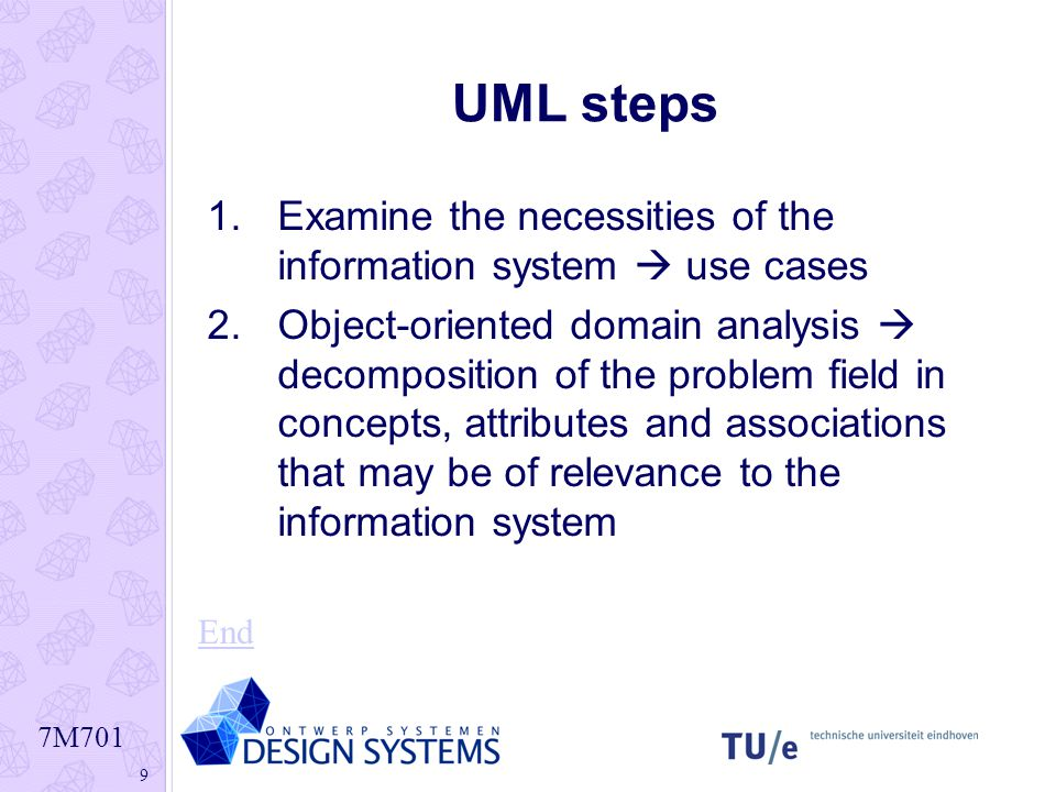 7M701 9 UML steps 1.Examine the necessities of the information system  use cases 2.Object-oriented domain analysis  decomposition of the problem fie