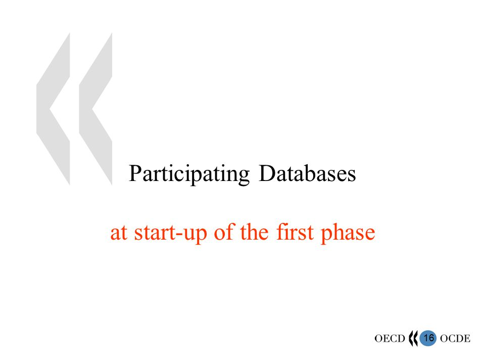 16 Participating Databases at start-up of the first phase