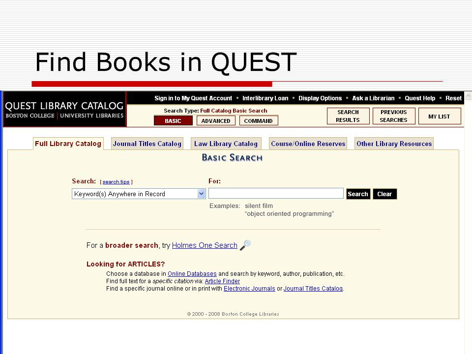 Find Books in QUEST