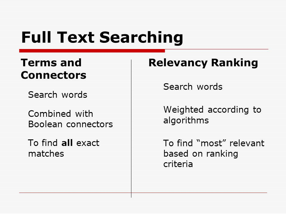 Full Text Searching Relevancy Ranking Search words Weighted according to algorithms To find most relevant based on ranking criteria Terms and Connectors Search words Combined with Boolean connectors To find all exact matches