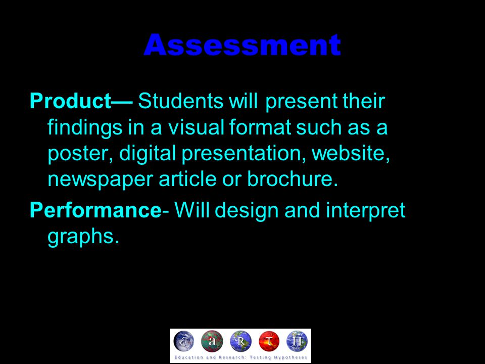 Assessment Product— Students will present their findings in a visual format such as a poster, digital presentation, website, newspaper article or brochure.