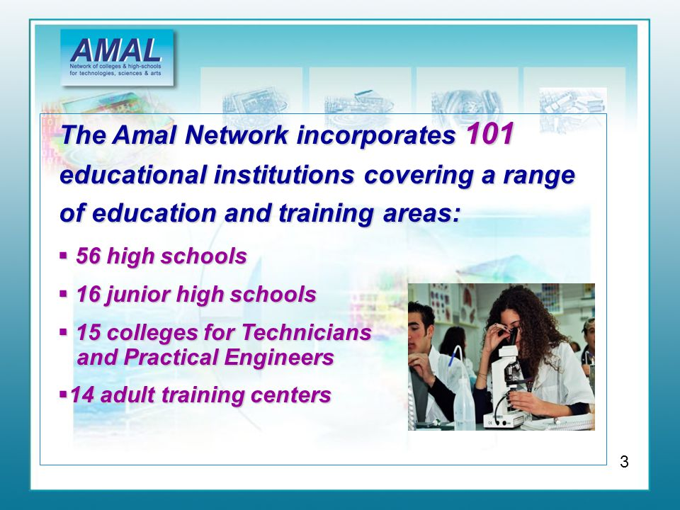 The Amal Network incorporates 101 educational institutions covering a range of education and training areas:  56 high schools  16 junior high schools  15 colleges for Technicians and Practical Engineers  14 adult training centers 3