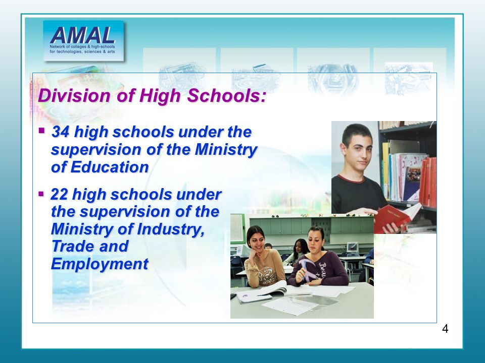 Division of High Schools:  34 high schools under the supervision of the Ministry of Education  22 high schools under the supervision of the Ministry of Industry, Trade and Employment 4