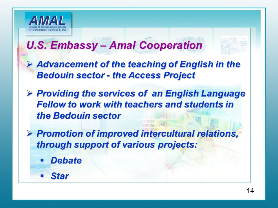 U.S. Embassy – Amal Cooperation  Advancement of the teaching of English in the Bedouin sector - the Access Project  Providing the services of an Eng