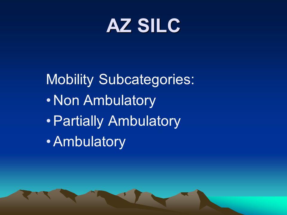 AZ SILC Mobility Subcategories: Non Ambulatory Partially Ambulatory Ambulatory