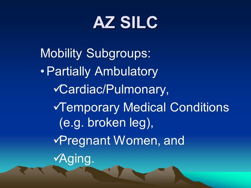 AZ SILC Mobility Subgroups: Partially Ambulatory Cardiac/Pulmonary, Temporary Medical Conditions (e.g. broken leg), Pregnant Women, and Aging.
