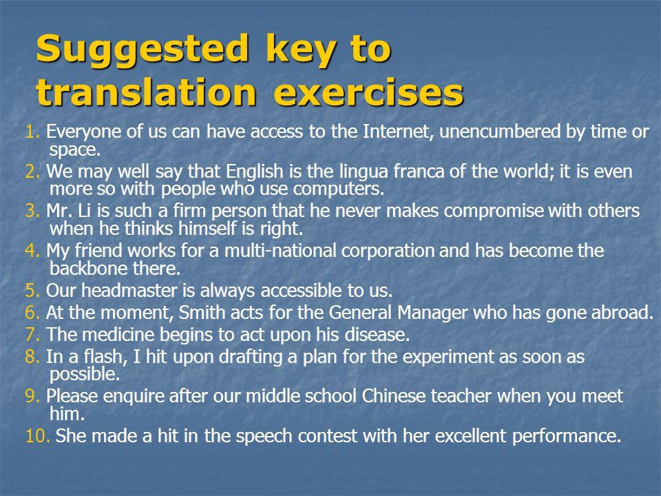 Suggested key to translation exercises 1.