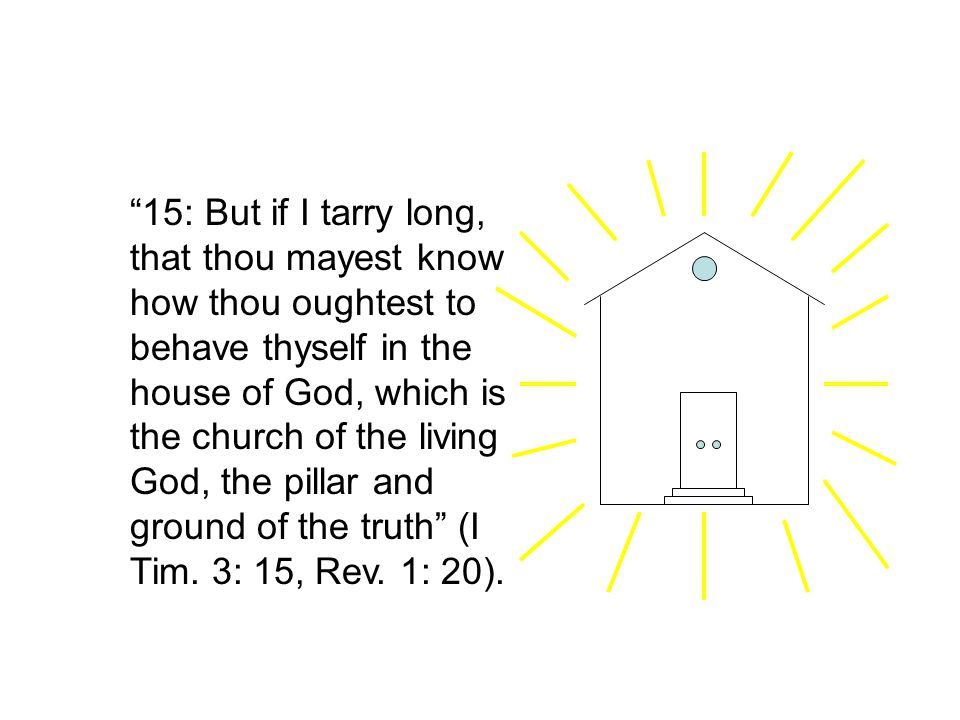 15: But if I tarry long, that thou mayest know how thou oughtest to behave thyself in the house of God, which is the church of the living God, the pillar and ground of the truth (I Tim.