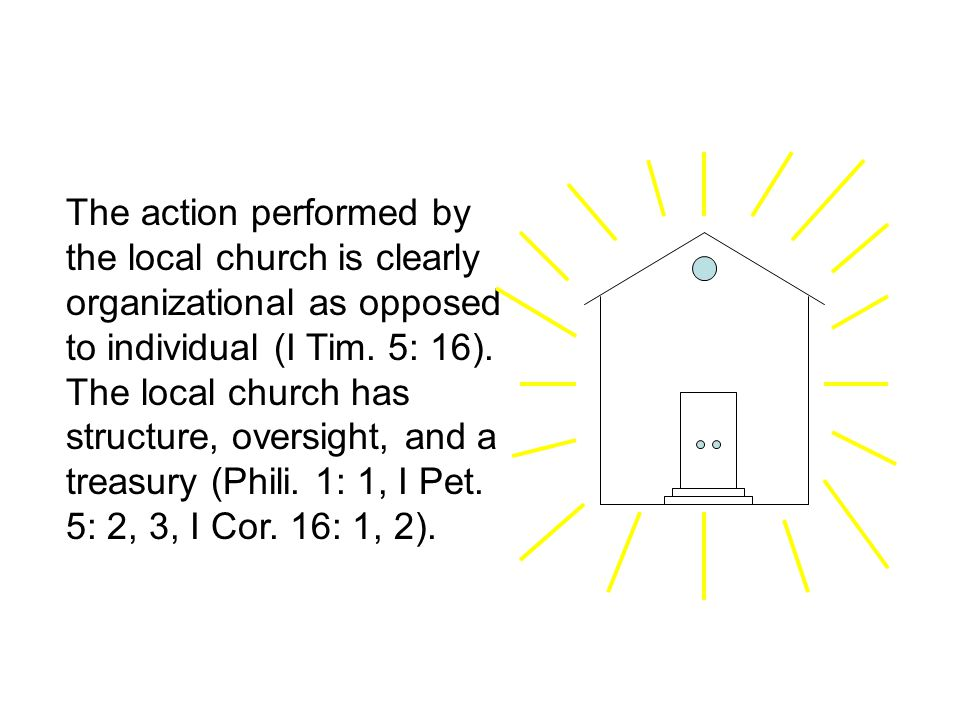 The action performed by the local church is clearly organizational as opposed to individual (I Tim.