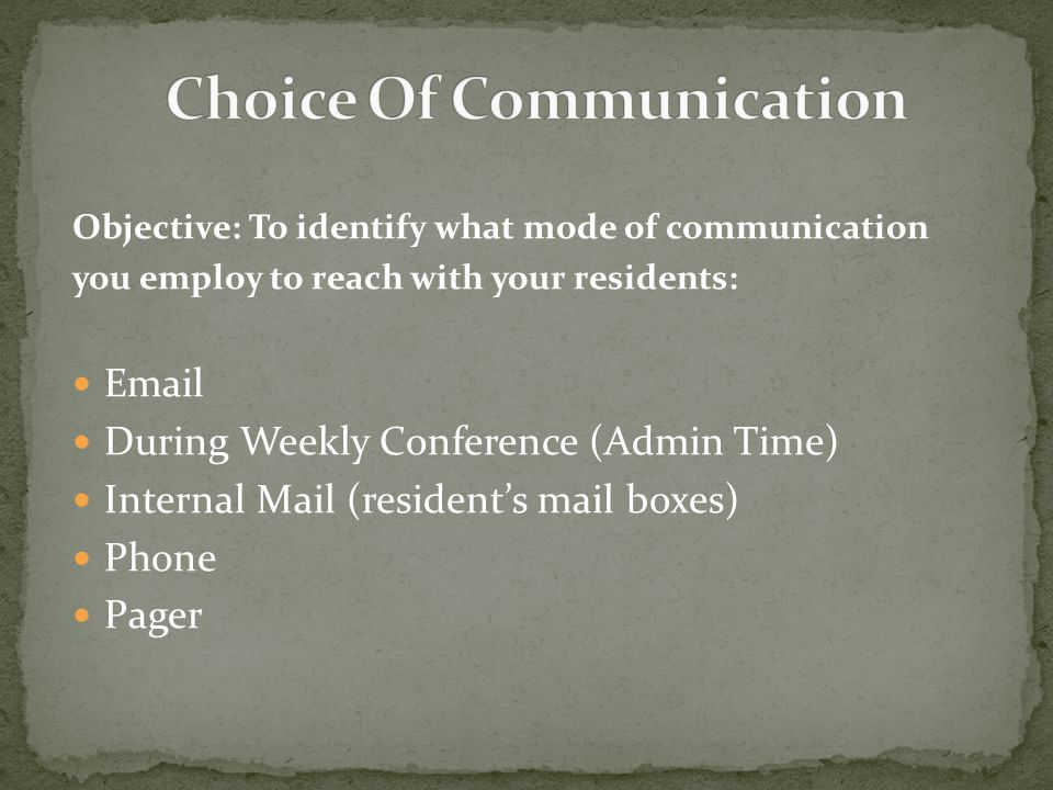 Objective: To identify what mode of communication you employ to reach with your residents: Email During Weekly Conference (Admin Time) Internal Mail (resident's mail boxes) Phone Pager