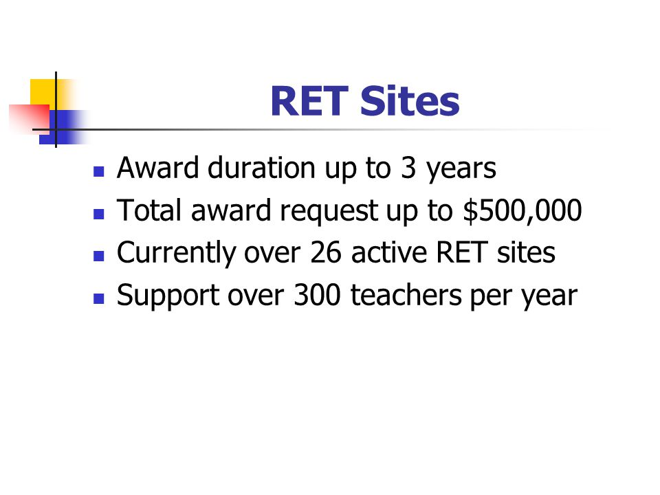 RET Sites Award duration up to 3 years Total award request up to $500,000 Currently over 26 active RET sites Support over 300 teachers per year