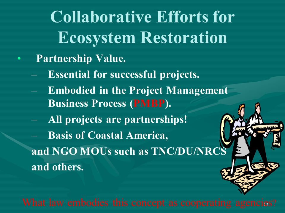 10 Collaborative Efforts for Ecosystem Restoration Partnership Value. – –Essential for successful projects. – –Embodied in the Project Management Busi
