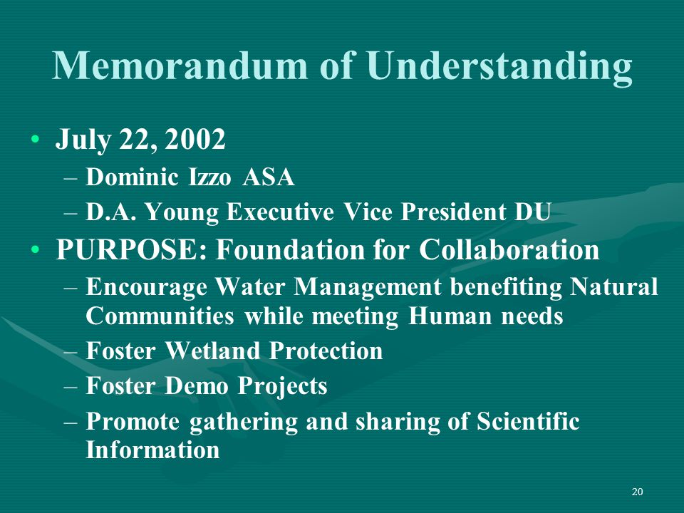 20 Memorandum of Understanding July 22, 2002 – –Dominic Izzo ASA – –D.A. Young Executive Vice President DU PURPOSE: Foundation for Collaboration – –En
