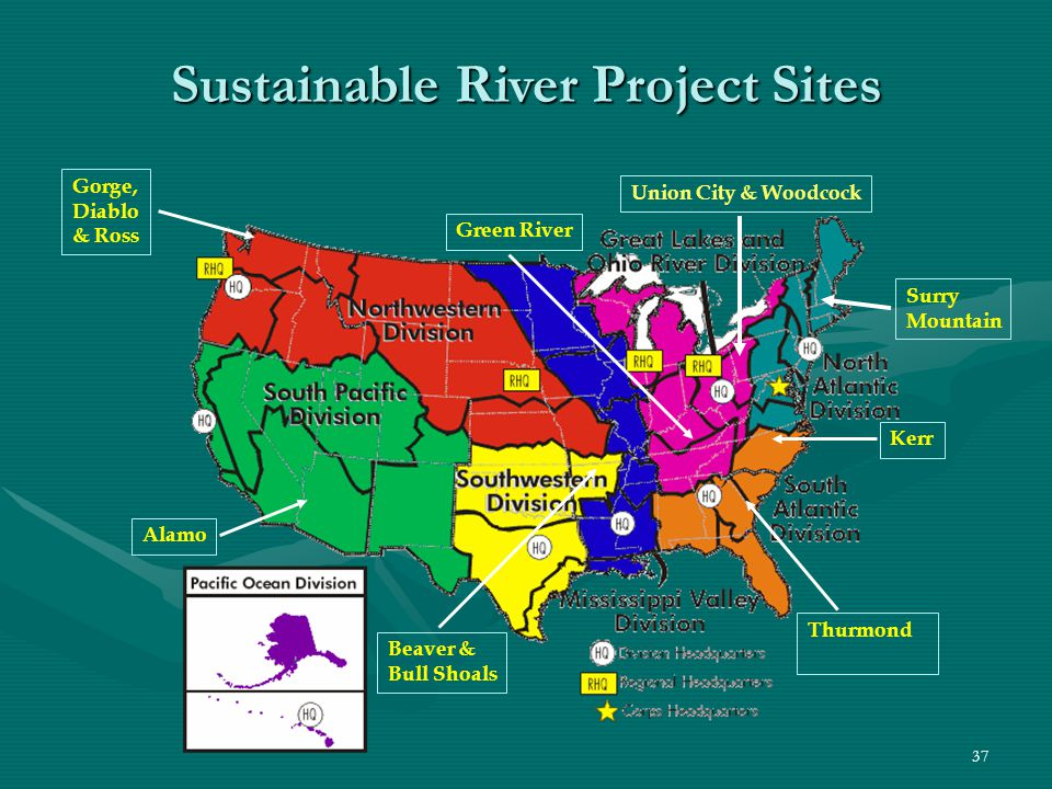 37 Gorge, Diablo & Ross Green River Union City & Woodcock Kerr Alamo Thurmond Beaver & Bull Shoals Sustainable River Project Sites Surry Mountain