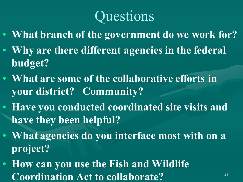 39 Questions What branch of the government do we work for? Why are there different agencies in the federal budget? What are some of the collaborative