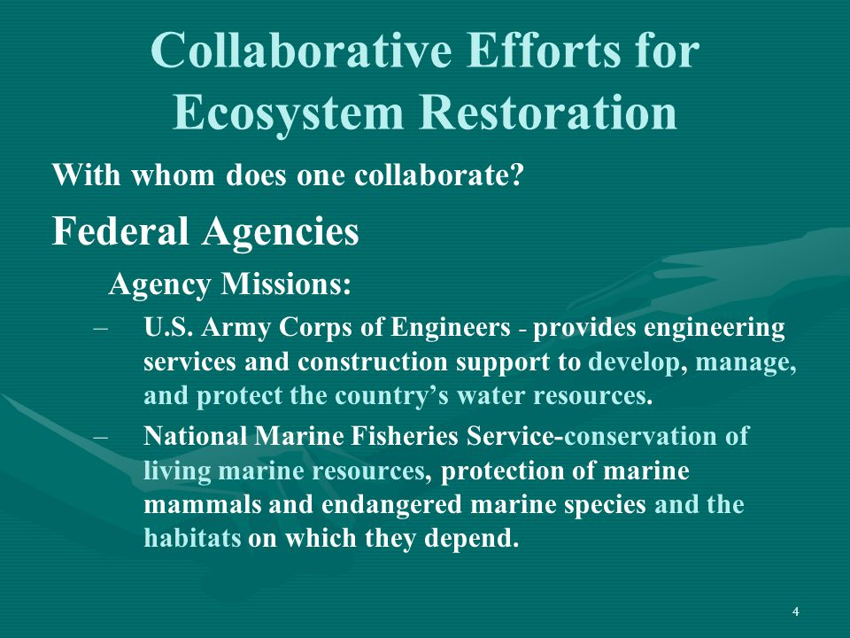 4 Collaborative Efforts for Ecosystem Restoration With whom does one collaborate? Federal Agencies Agency Missions: – –U.S. Army Corps of Engineers -