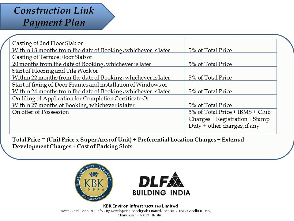 Construction Link Payment Plan Casting of 2nd Floor Slab or Within 18 months from the date of Booking, whichever is later 5% of Total Price Casting of Terrace Floor Slab or 20 months from the date of Booking, whichever is later 5% of Total Price Start of Flooring and Tile Work or Within 22 months from the date of Booking, whichever is later 5% of Total Price Start of fixing of Door Frames and installation of Windows or Within 24 months from the date of Booking, whichever is later 5% of Total Price On filing of Application for Completion Certificate Or Within 27 months of Booking, whichever is later 5% of Total Price On offer of Possession 5% of Total Price + IBMS + Club Charges + Registration + Stamp Duty + other charges, if any Total Price = (Unit Price x Super Area of Unit) + Preferential Location Charges + External Development Charges + Cost of Parking Slots