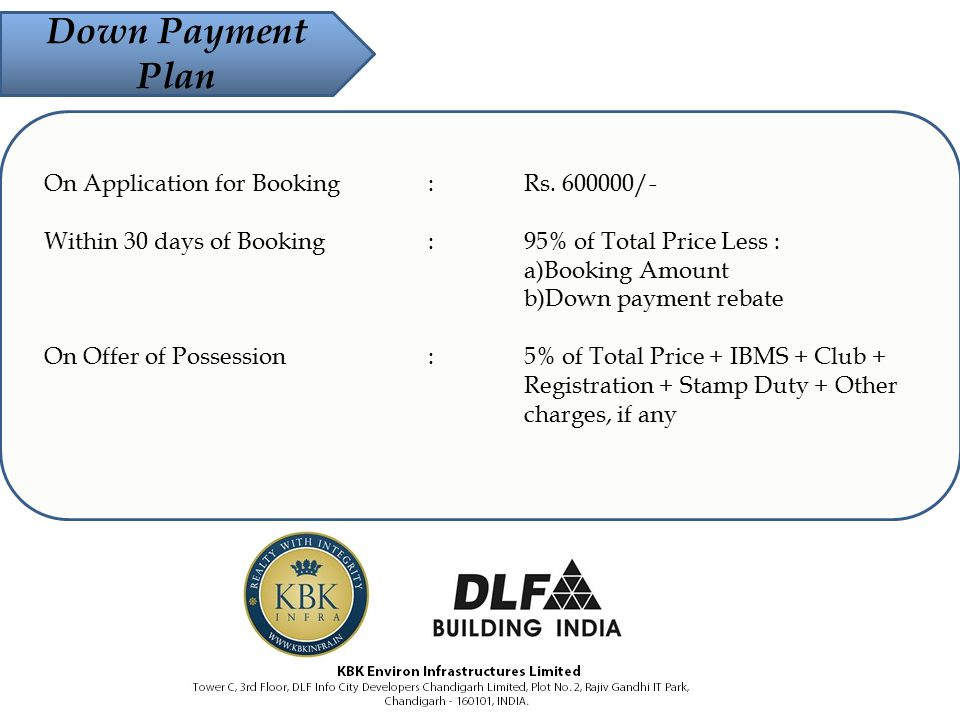 Down Payment Plan On Application for Booking :Rs. 600000/- Within 30 days of Booking :95% of Total Price Less : a)Booking Amount b)Down payment rebate