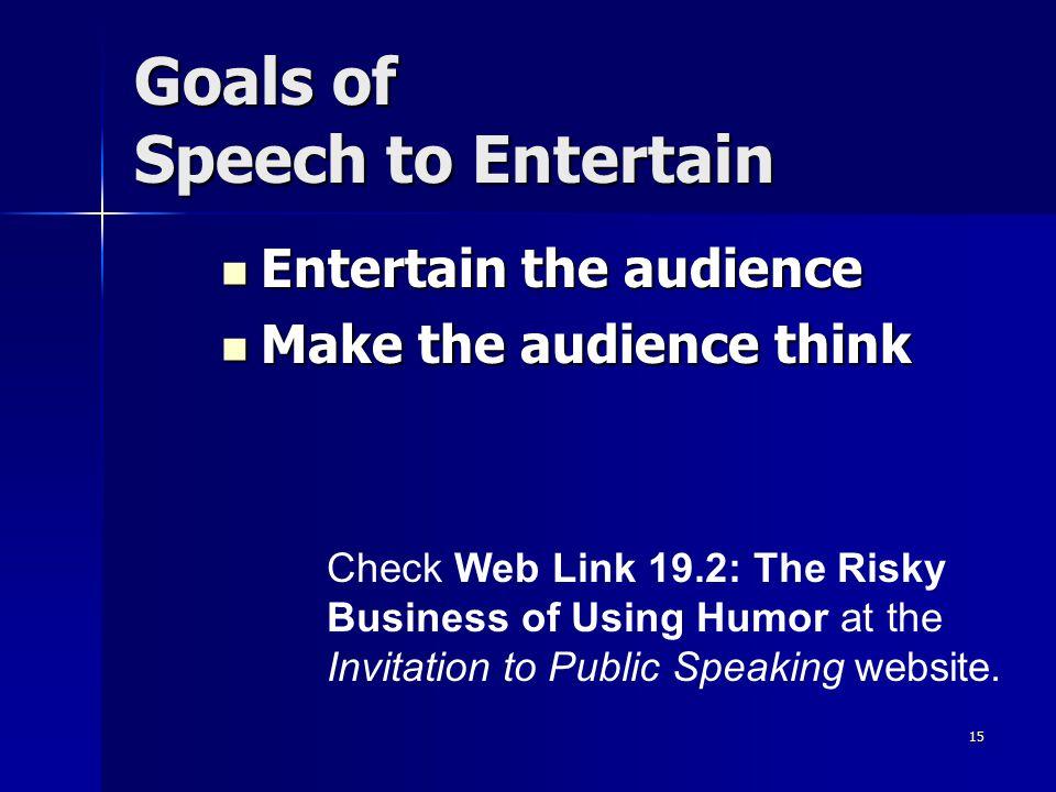 15 Goals of Speech to Entertain Entertain the audience Entertain the audience Make the audience think Make the audience think Check Web Link 19.2: The