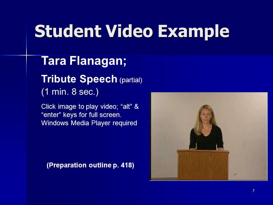 "7 Student Video Example Tara Flanagan; Tribute Speech (partial) (1 min. 8 sec.) Click image to play video; ""alt"" & ""enter"" keys for full screen. Windo"