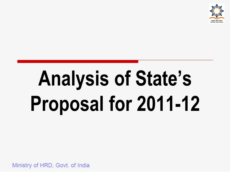 Analysis of State's Proposal for 2011-12 Ministry of HRD, Govt. of India