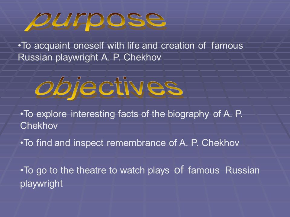 To acquaint oneself with life and creation of famous Russian playwright A.