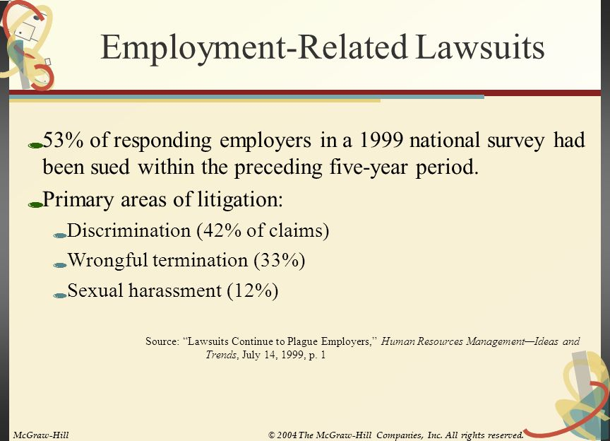 Employment-Related Lawsuits  53% of responding employers in a 1999 national survey had been sued within the preceding five-year period.  Primary are