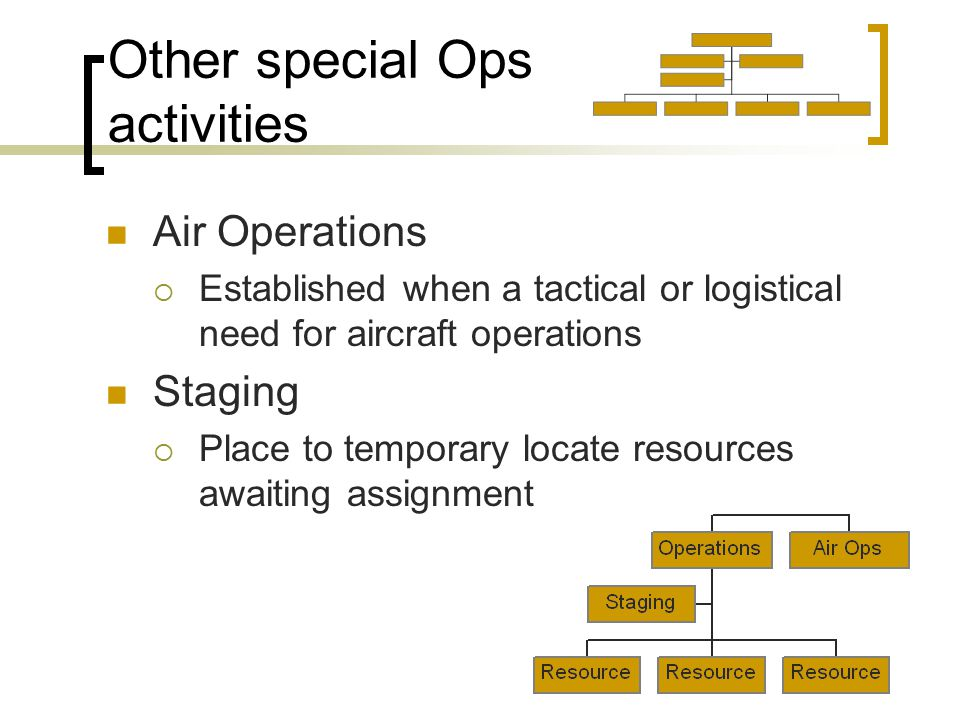 Other special Ops activities Air Operations  Established when a tactical or logistical need for aircraft operations Staging  Place to temporary locate resources awaiting assignment