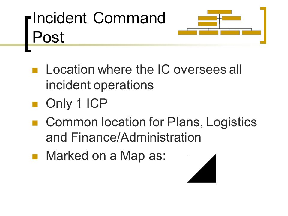 Incident Command Post Location where the IC oversees all incident operations Only 1 ICP Common location for Plans, Logistics and Finance/Administration Marked on a Map as: