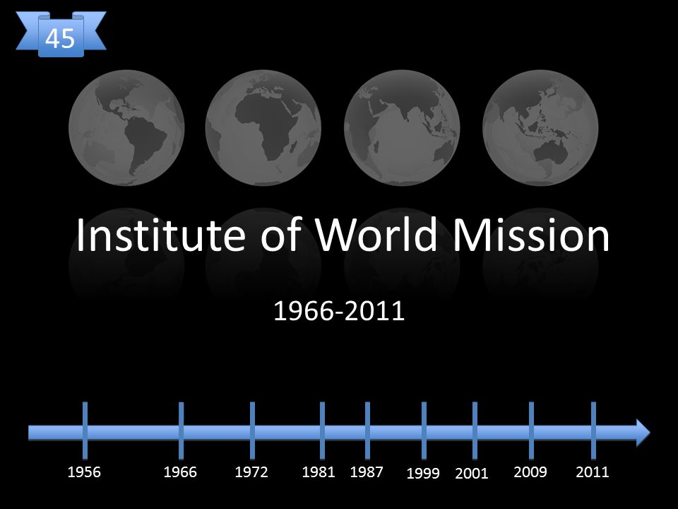 Institute of World Mission 1966-2011 19561966197219811987 1999 20092011 45 2001