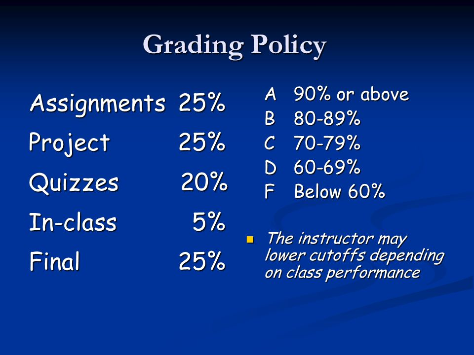 Grading Policy Assignments 25% Project 25% Quizzes 20% In-class 5% Final 25% A 90% or above B80-89% C70-79% D60-69% FBelow 60% The instructor may lower cutoffs depending on class performance
