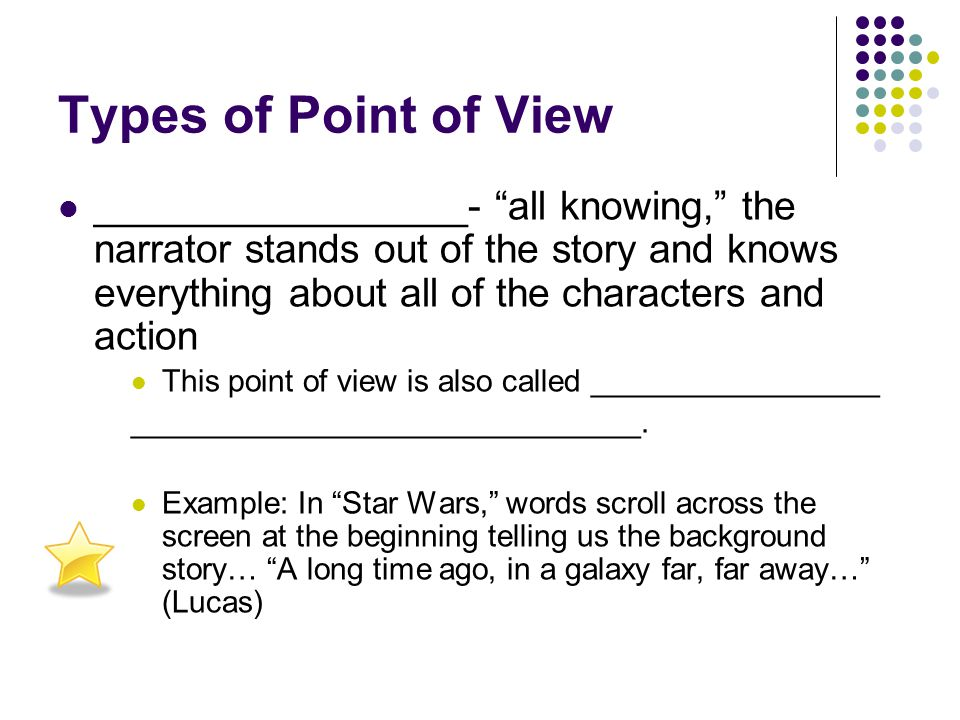 "Types of Point of View ________________- an actual character within the story (a limited point of view) Example: ""Scout"" in To Kill a Mockingbird- she"