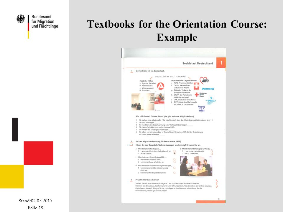 Stand:02.05.2015 Folie 19 Textbooks for the Orientation Course: Example