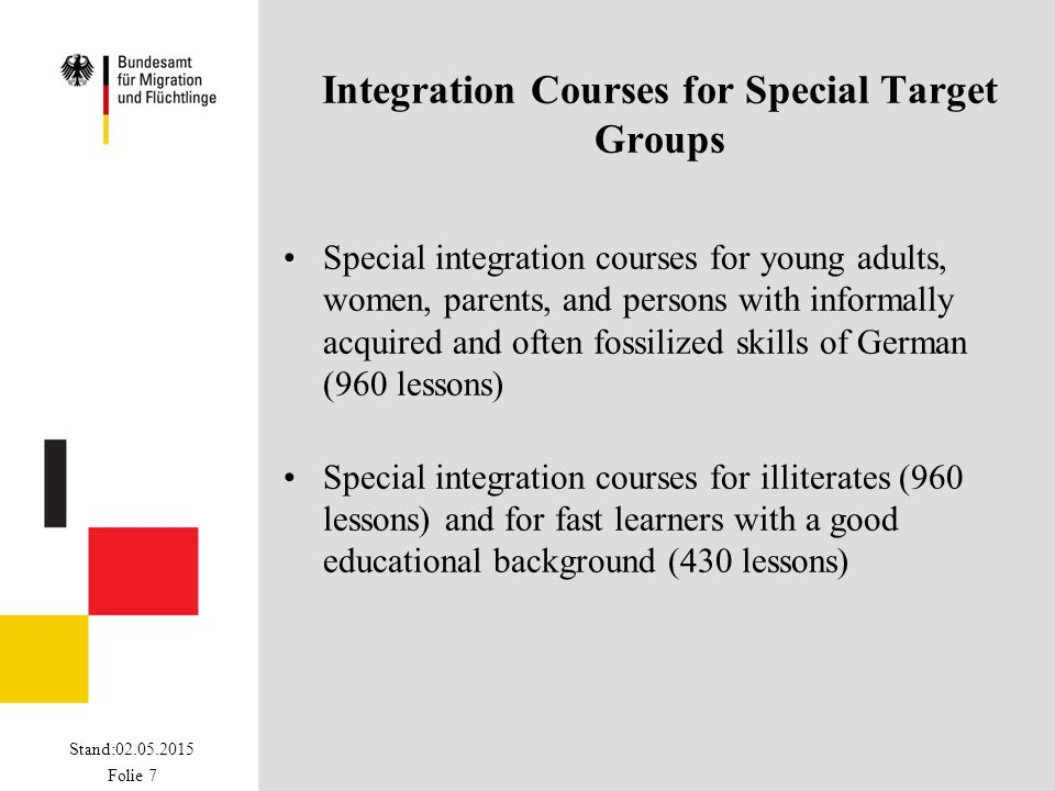 Stand:02.05.2015 Folie 7 Integration Courses for Special Target Groups Special integration courses for young adults, women, parents, and persons with