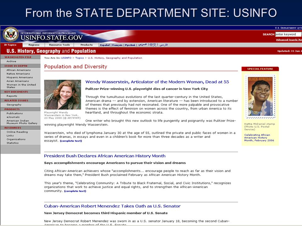 FROM USINFO WEB SITE: HTTP://USINFO.STATE.GOV HTTP://USINFO.STATE.GOV