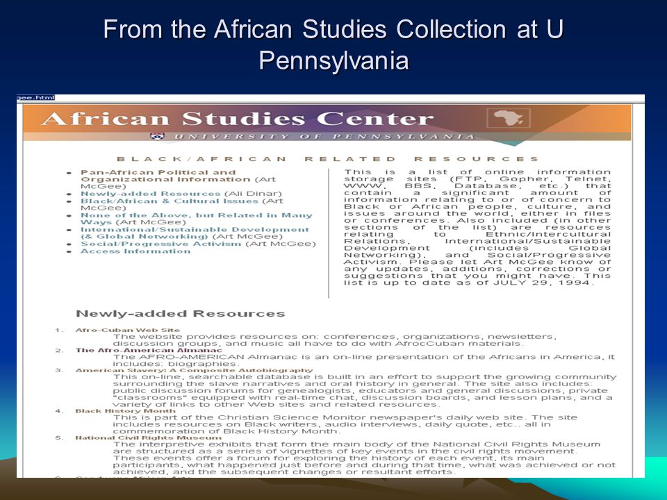 The more detailed RESEARCH GUIDE TO AFRICAN AMERICAN STUDIES: http://www.libraries.rutgers.edu/rul/rr_gateway/research_guides/history/afrores.shtml