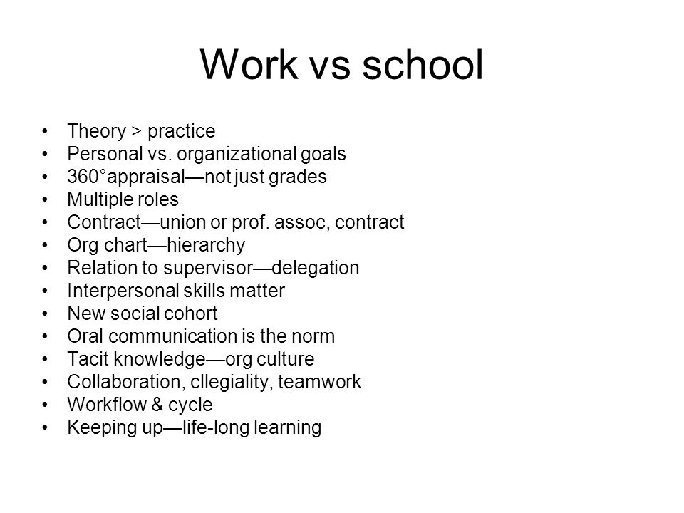 Work vs school Theory > practice Personal vs.