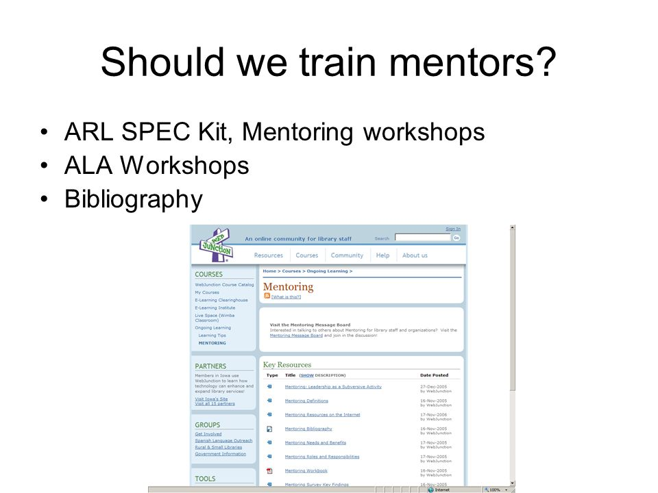 Should we train mentors? ARL SPEC Kit, Mentoring workshops ALA Workshops Bibliography