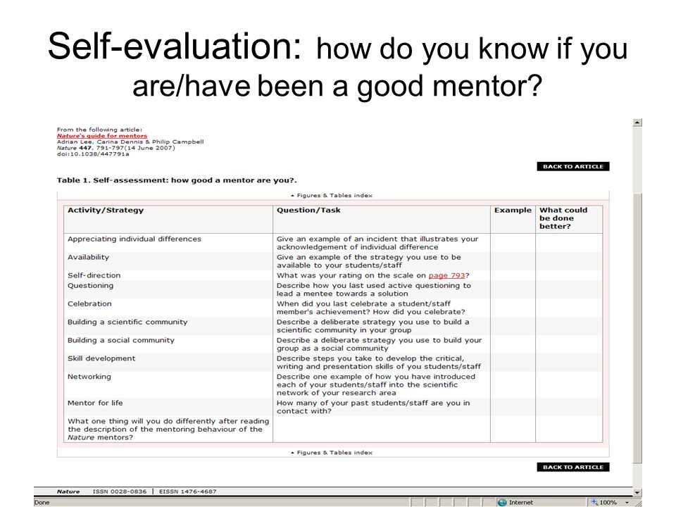 Self-evaluation: how do you know if you are/have been a good mentor?